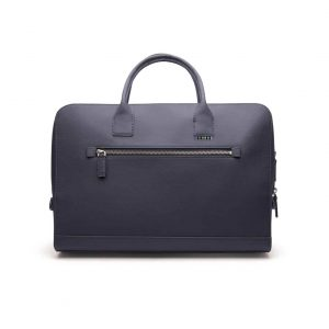 Vegan aktetas laptoptas - This is Lo First edition briefcase blauw voorkant